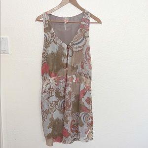 💛 Free People Brown Paisley Print Shift Dress